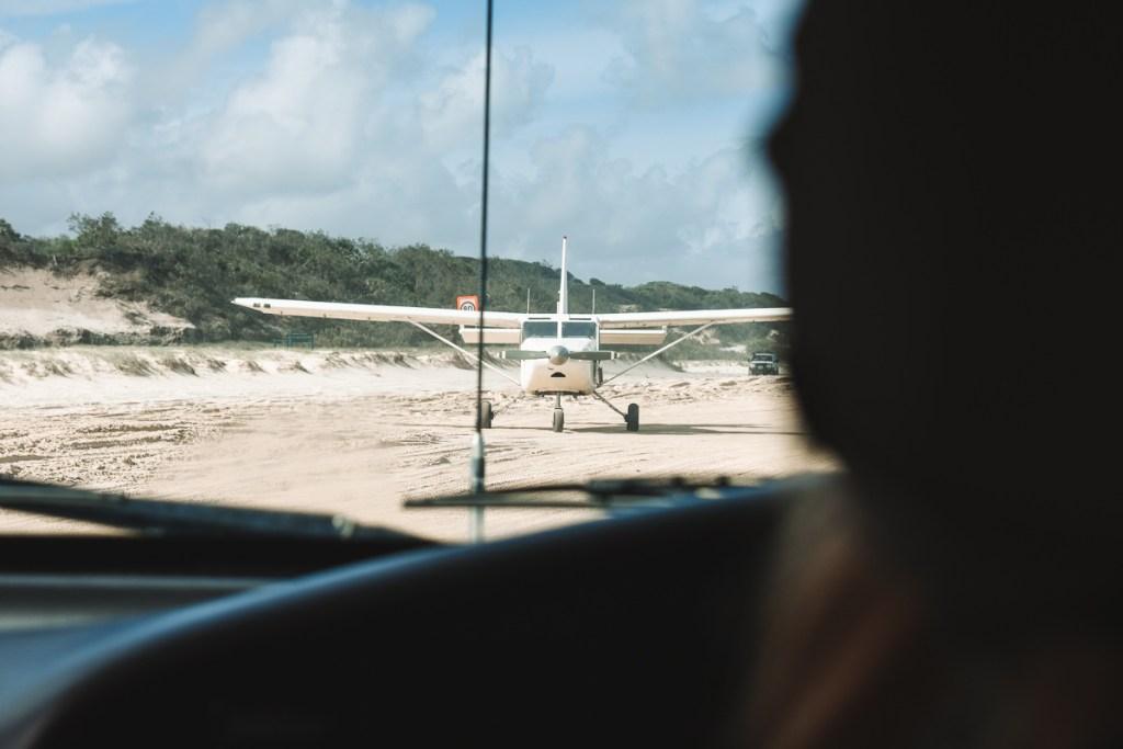Flying on Fraser Island airplane