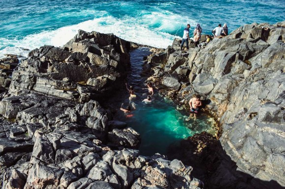 Crowds at the fairy pools noosa