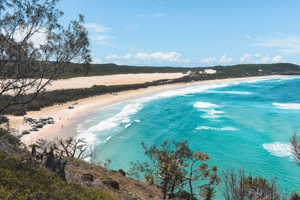 Cars on the sand on Fraser Island near Indian Head