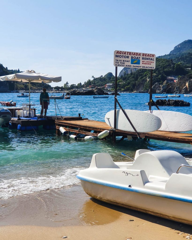 Rent a boat in Paleokastritsa Agiatraida Breach