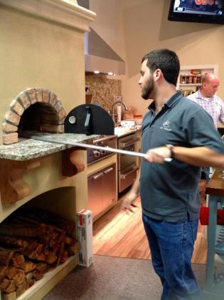 using real pizza oven in store
