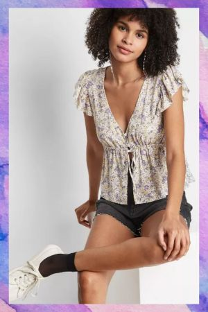 floral print front button short sleeves  top
