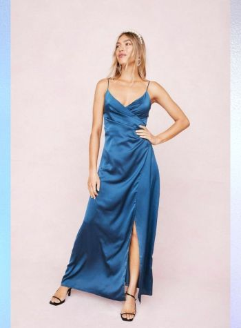 blue satin wrap maxi dress