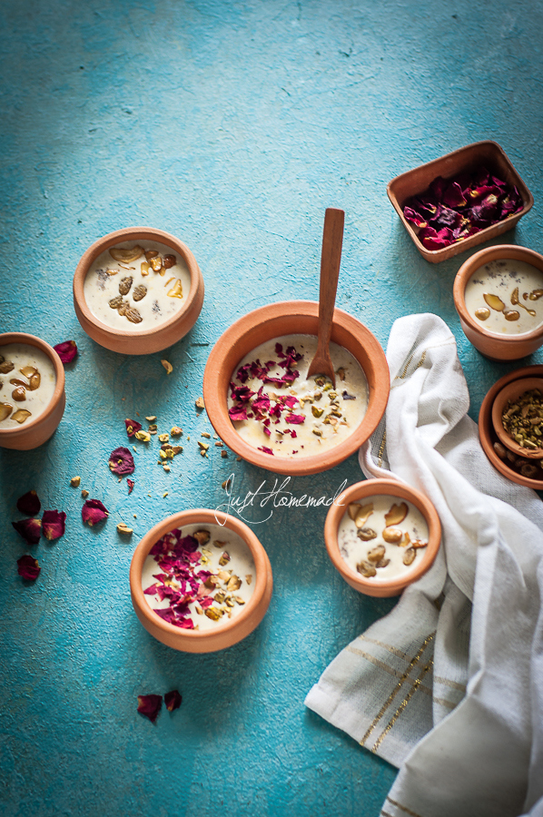 Mixed Millet kheer with pistachios and rose petals