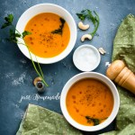 Carrot cashew soup two bowls