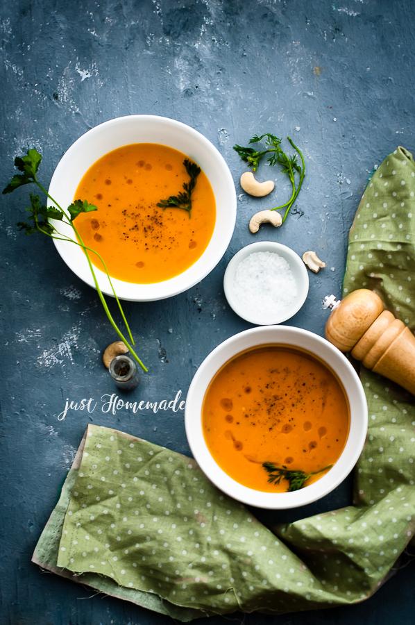 Carrot cashew soup two bowls