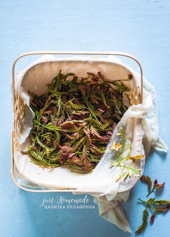 Chintha Chiguru - tender tamarind leaves - hunase chiguru