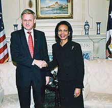 Carl Bildt and Condi Rice
