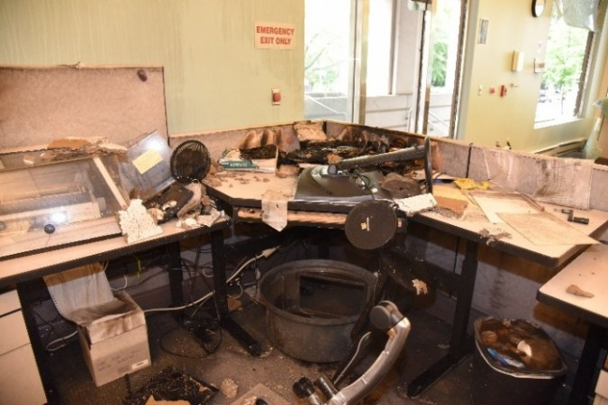 Damage to the Corrections Records Office from fire on May 29, 2020