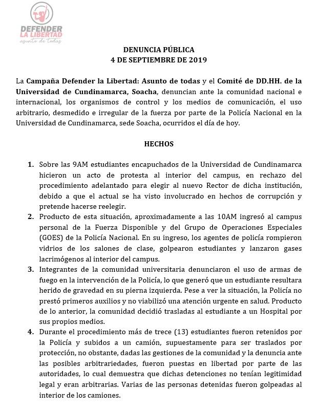 Comunicado Universidad de Cundinamarca