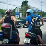Bicycle Helmet on Motorcycle Driver
