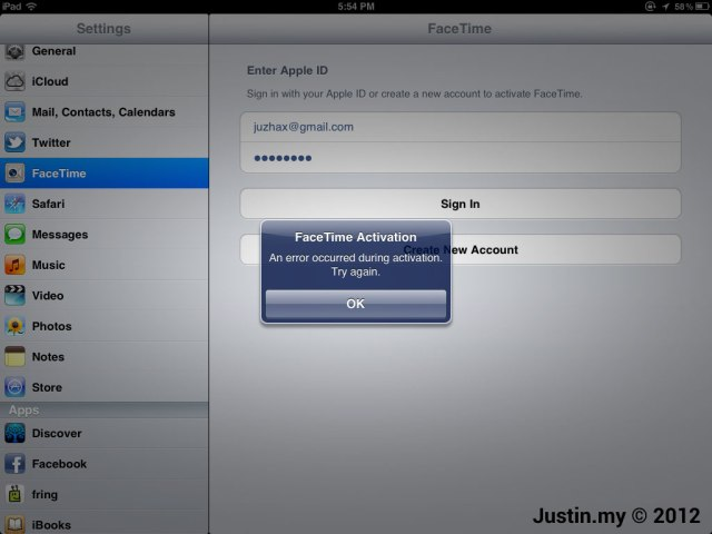 Facetime Activation An Error Occurred During Activation Try Again