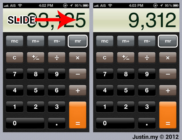Calculator Tips Hints in iOS