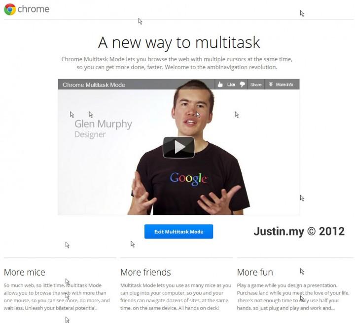 Google 2012 April fool Multitask Chrome