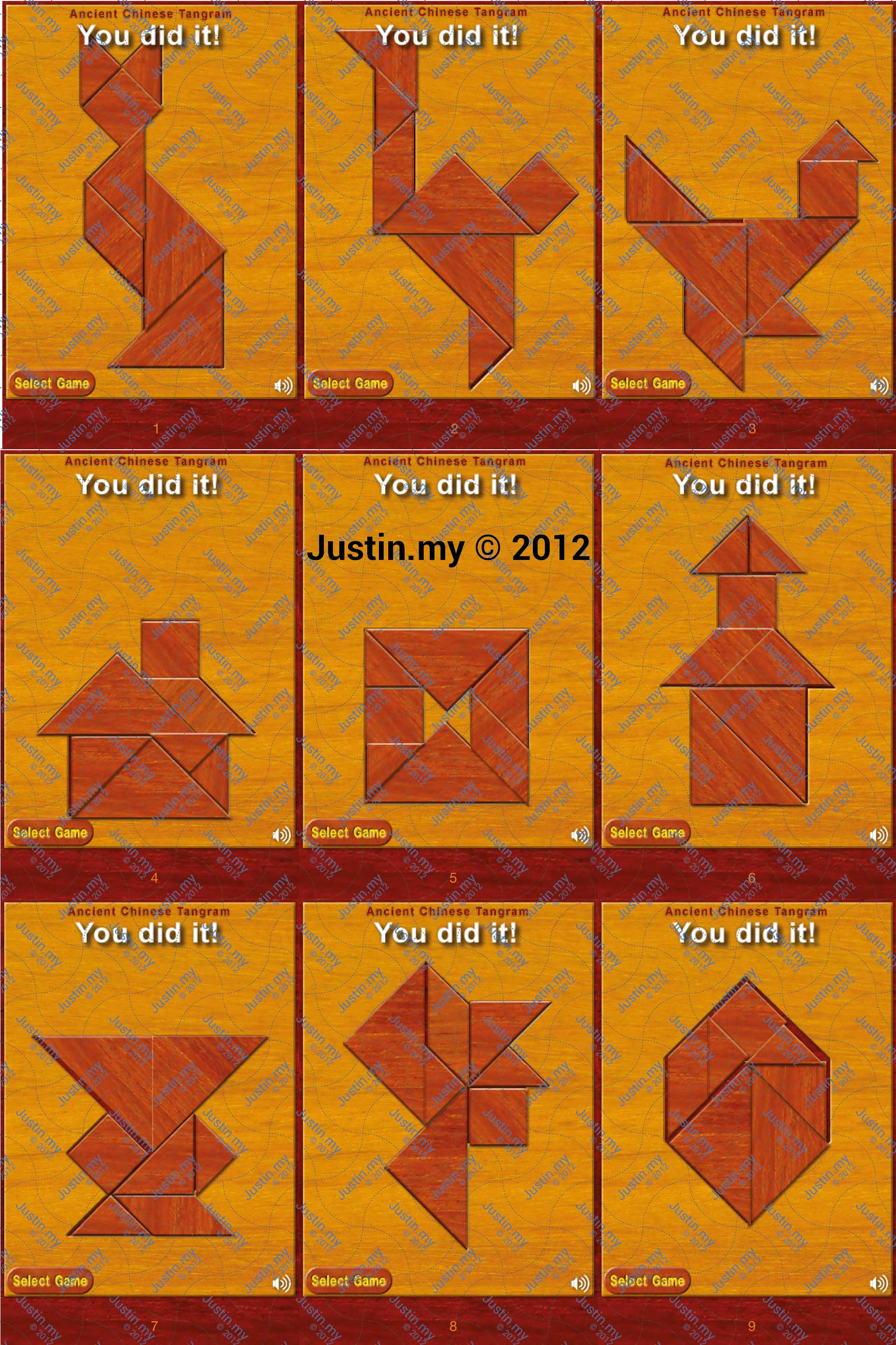Ancient Chinese Tangram Puzzle Answers Justin