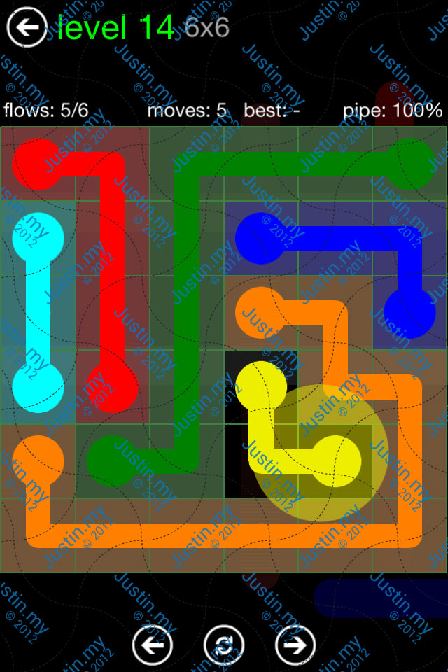 Flow Game Green Pack 6x6 Level 14