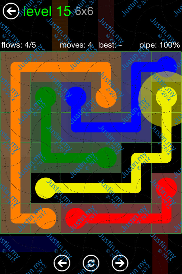 Flow Game Green Pack 6x6 Level 15