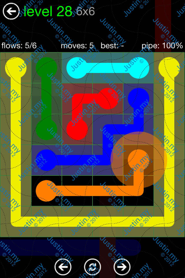 Flow Game Green Pack 6x6 Level 28