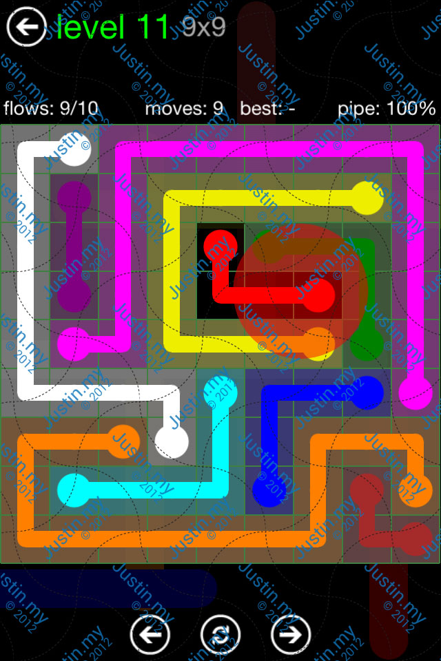 Flow Game Green Pack 9x9 Level 11