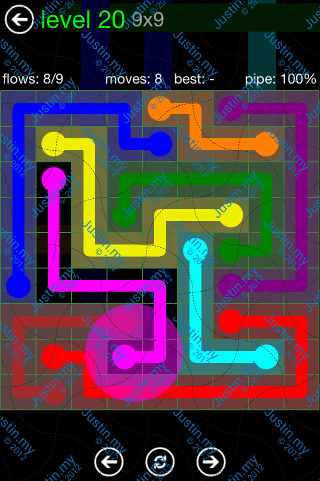 Flow Game Green Pack 9x9 Level 20