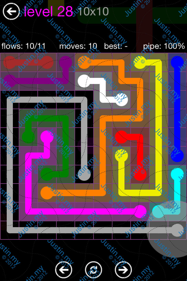 Flow Game Purple Pack 10x10 Level 28