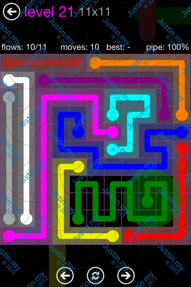Flow Game Purple Pack 11x11 Level 21