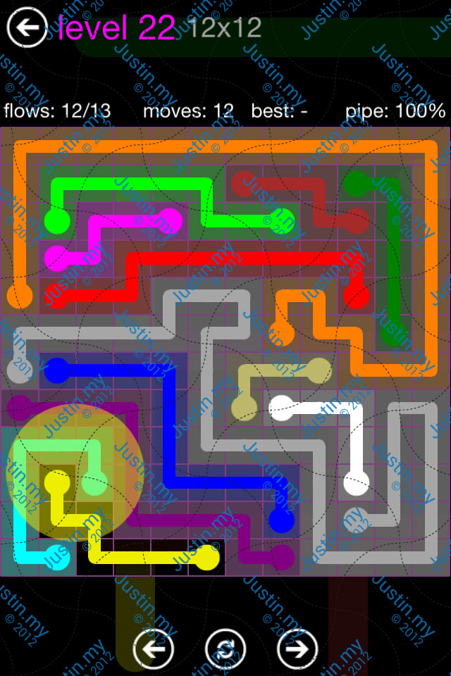 Flow Game Purple Pack 12x12 Level 22