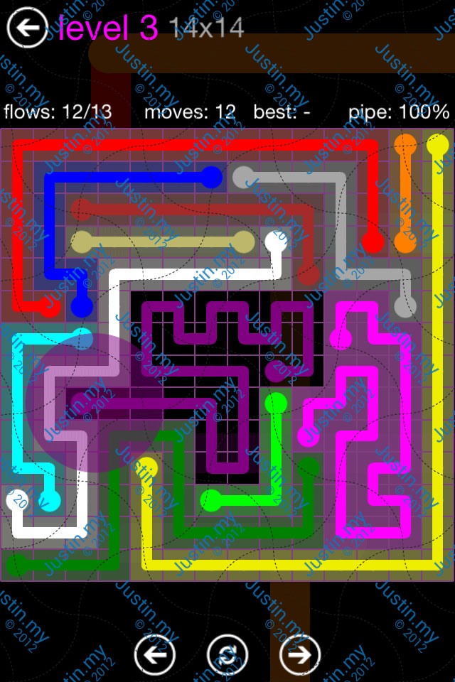 Flow Game Purple Pack 14x14 Level 03