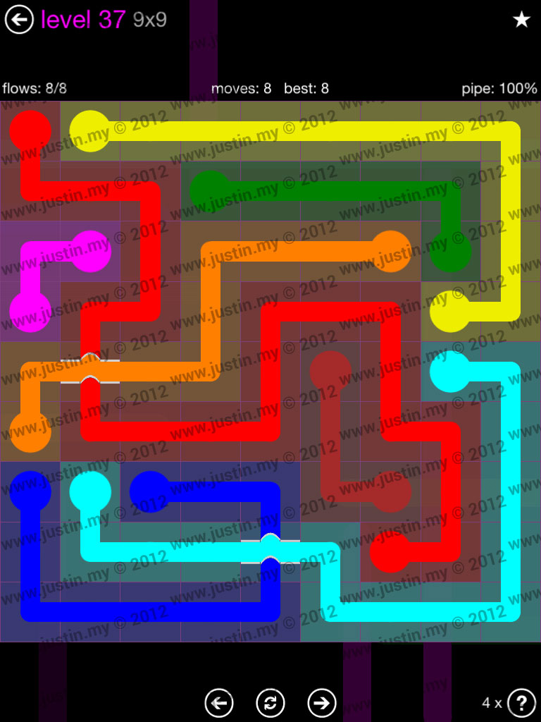Flow Bridges 9x9 Mania Level 37