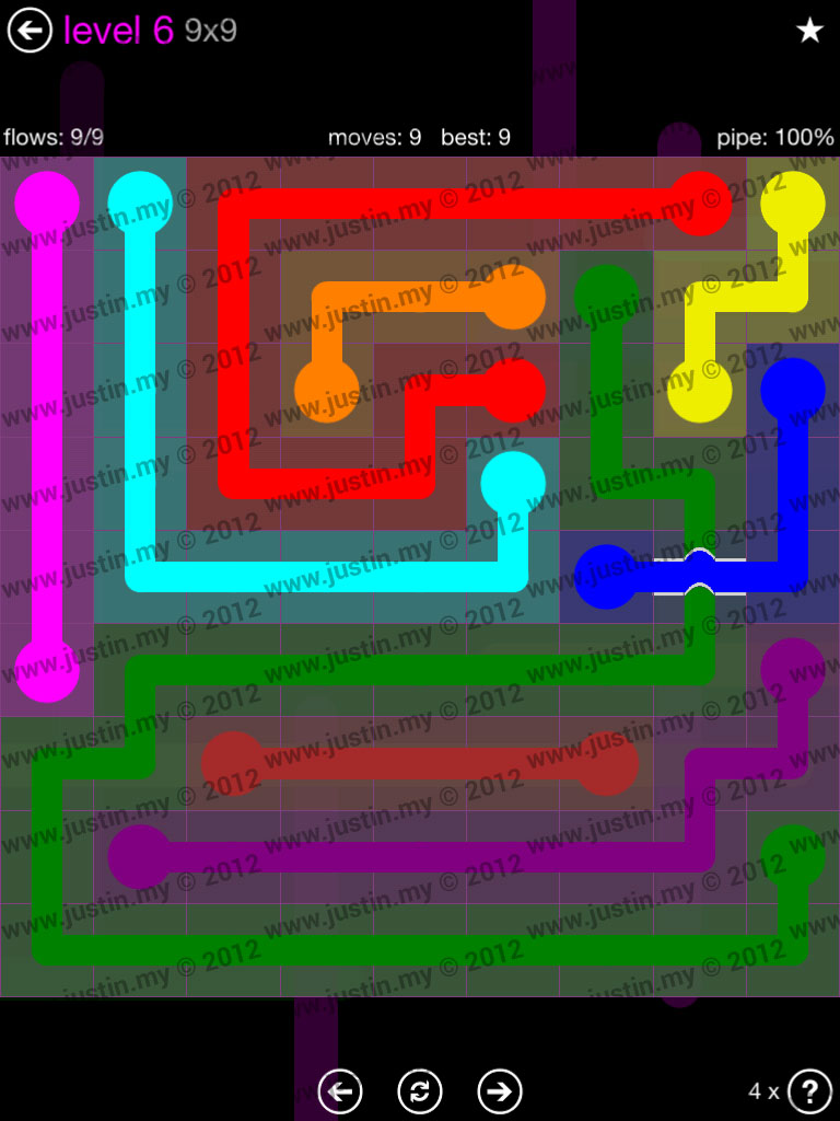 Flow Bridges 9x9 Mania Level 6