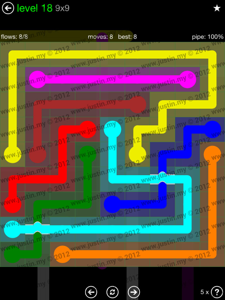Flow Bridges 9x9 Level 18