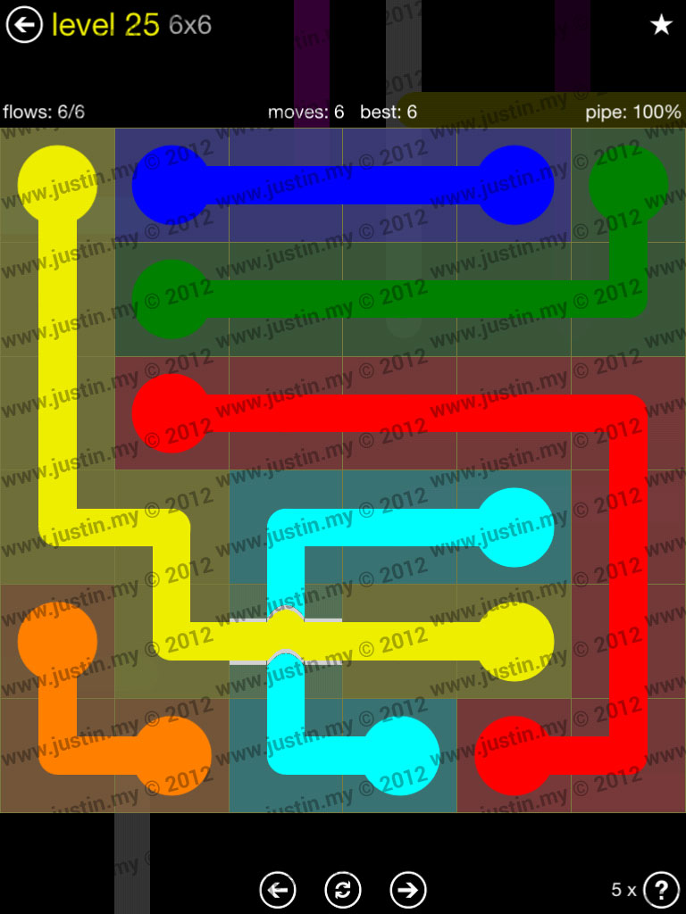 Flow Bridges 6x6 Level 25