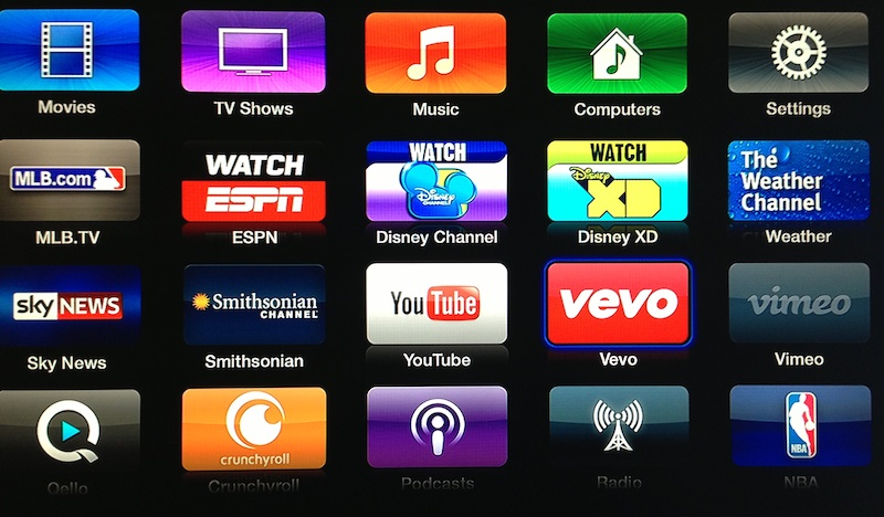 Apple TV updated with VevoDisney Weather Channel Smithsonian apps