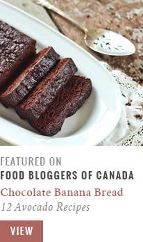 Featured on Food Bloggers of Canada // Decadent Dark Chocolate Banana Bread | 15 avocado recipes that aren't smoothies
