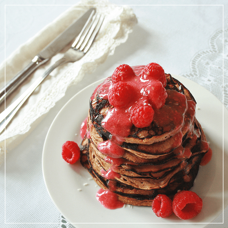 Banana Maca Pancakes with Raspberry Maple Syrup // JustineCelina.com