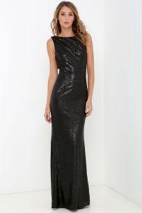 Slink and Wink Matte Black Sequin Maxi Dress