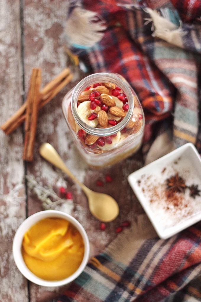 Winter Breakfast Bowl with Pumpkin Spice Steel Cut Oats | How to layer breakfast in a mason jar // JustineCelina.com