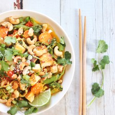 Carrot Cashew Zoodles with Crispy Sesame Tofu // JustineCelina.com