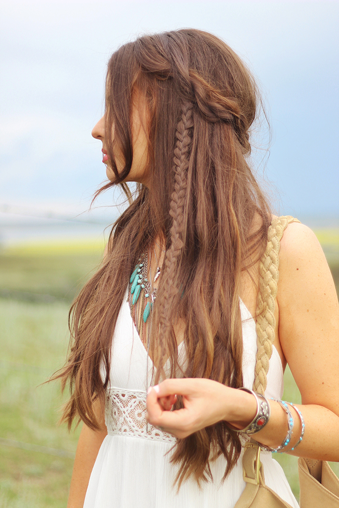 What to Wear to   The Calgary Stampede   Bohemian, braided, undone hairstyle by Dawn Bradley Hair // JustineCelina.com