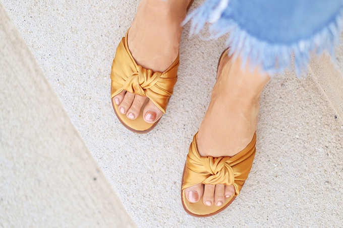 SUMMER 2017 MEGA SHOE GUIDE | 30 PAIRS! | Zara Satin Bow Slides in Mustard // JustineCelina.com