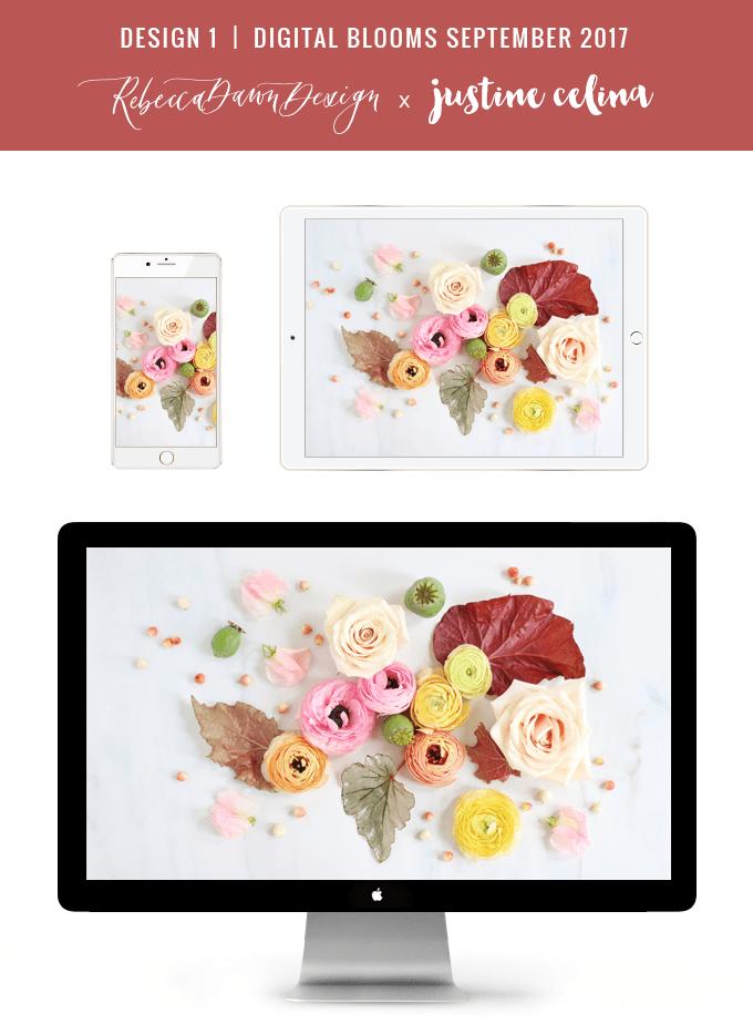 Digital Blooms September 2017   Free Desktop Wallpapers   Design 1 // JustineCelina.com x Rebecca Dawn Design