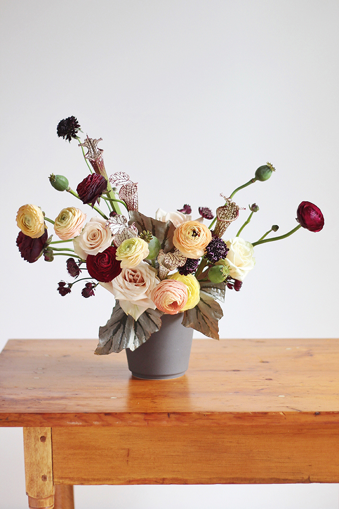 Bringing Autumn Flowers Into Your Home | A Moody, Autumn Arrangement including Ranunculus, // JustineCelina.com + Rebecca Dawn Design