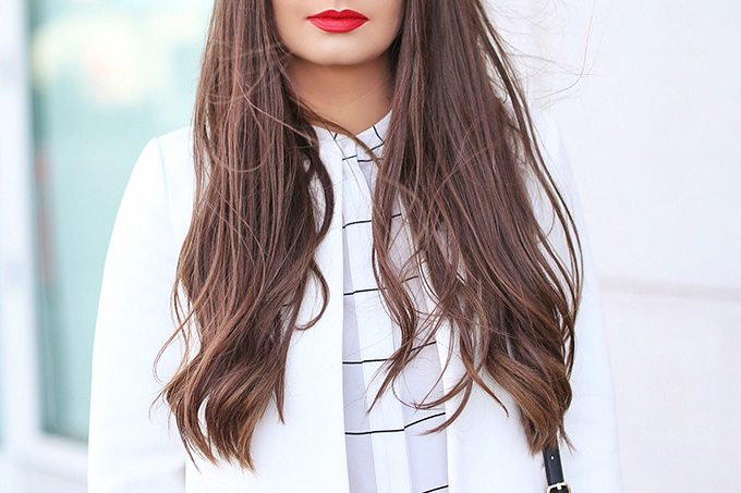 Autumn 2017 Trend Guide   Street Chic   Best Red Lipsticks for Fall 2017   Bangs for Fall 2017 // JustineCelina.com