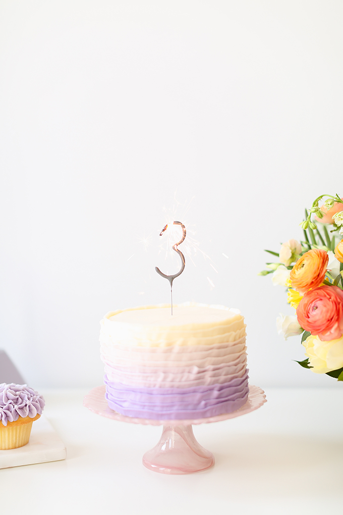 My 3rd Blogiversary + 10 Things I Learned in my Third Year of Blogging | Lavender Ombre Ruffle Cake | A Pantone Spring 2018 Inspired Birthday Celebration // JustineCelina.com