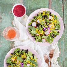 Summer Bounty Salad with Saskatoon Cider Vinaigrette | #Vegan #GlutenFree #FarmtoTable Summer Salad Recipes using locally grown Alberta produce | Calgary Food & Lifestyle Blogger // JustineCelina.com