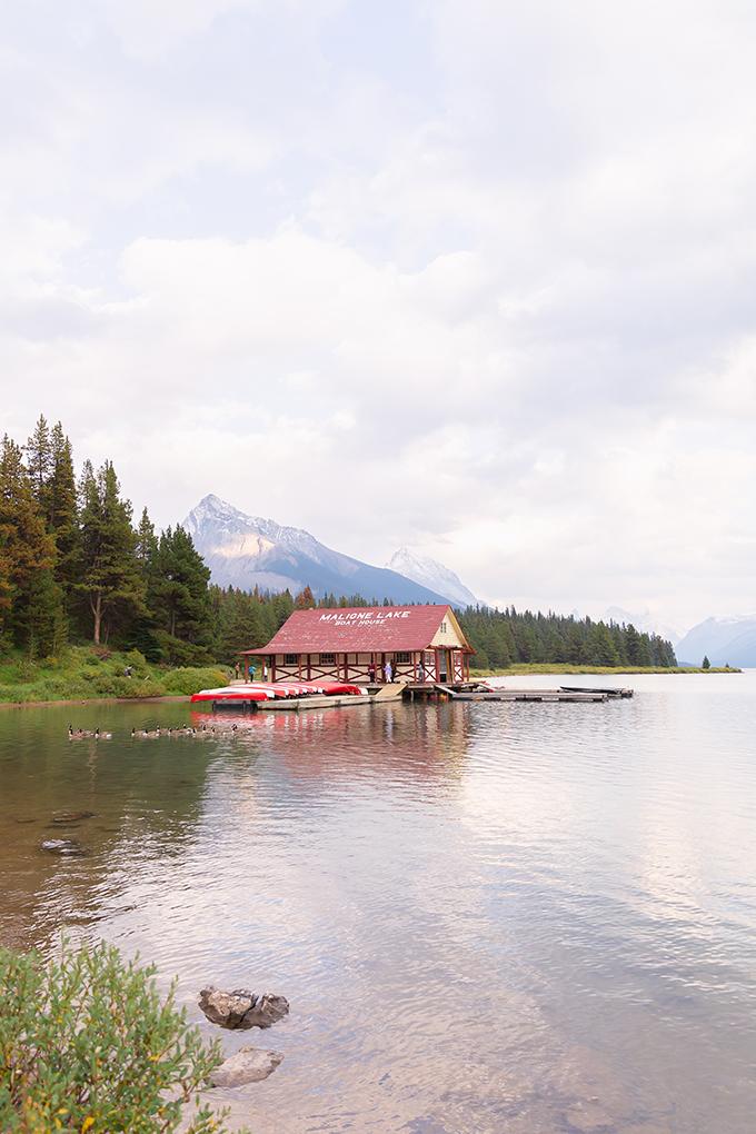 Maligne Lake Boathouse at Sunset, Jasper National Park | September 2018 Long Weekend | Calgary Lifestyle and Travel Blogger // JustineCelina.com