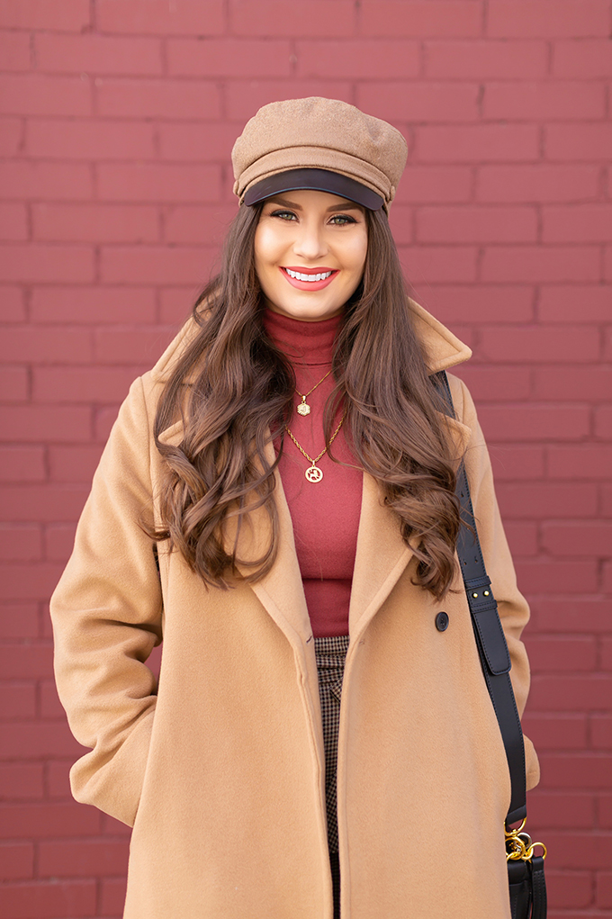 TRANSITIONAL STYLE STAPLES | WINTER TO SPRING 2019: My Go-To Polished Outfit for Transitional Weather | Aritzia Babaton Robbie Wool Coat Long styled with a Pantone Living Coral Turtle Neck, a Tweed and Leather TopShop Baker Boy Hat and Layered Gold House of Vi Jewellery | NARS Audacious Lipstick in Brigitte, Photos, Review | Stylish Winter / Spring Transitional 2019 Outfit Ideas | Calgary, Alberta Fashion Blogger // JustineCelina.com