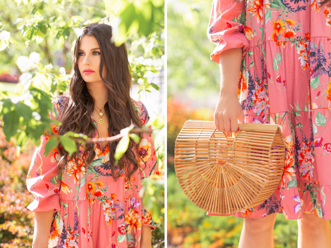 SPRING 2019 LOOKBOOK | Coral Florals: How to Style a Flowy, Coral Floral Print Dress for Spring | Floral Dress Outfit Ideas Spring 2019 | Spring and Summer Vacation Outfit Ideas | Brunette woman wearing a Zara Floral Print Ruffled Dress styled with oversized Chloe Carlina Sunglasses, nude lace up up espadrilles and Cult Gaia's Brown Ark large bamboo bag  | Top Spring 2019 Trends and how to wear them | Calgary Fashion & Creative Lifestyle Blogger // JustineCelina.com