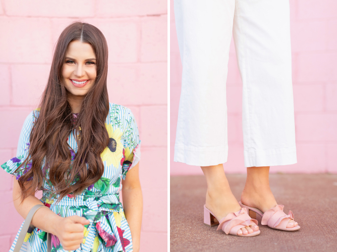 SPRING/SUMMER 2019 LOOKBOOK | Striped Florals: How to Style Florals at the Office for Spring | Striped Floral pattern Outfit Ideas Spring 2019 | Professional Spring/Summer 2019 Outfits | Brunette woman wearing white culottes, a colourful striped floral top, Artisan Anything's Chloe Tess dupe in grey and ruffled blush block heel sandals | How to Wear stripes and florals for SS19 | Top Spring/Summer 2019 Trends and how to wear them | Calgary Fashion & Lifestyle Blogger // JustineCelina.com