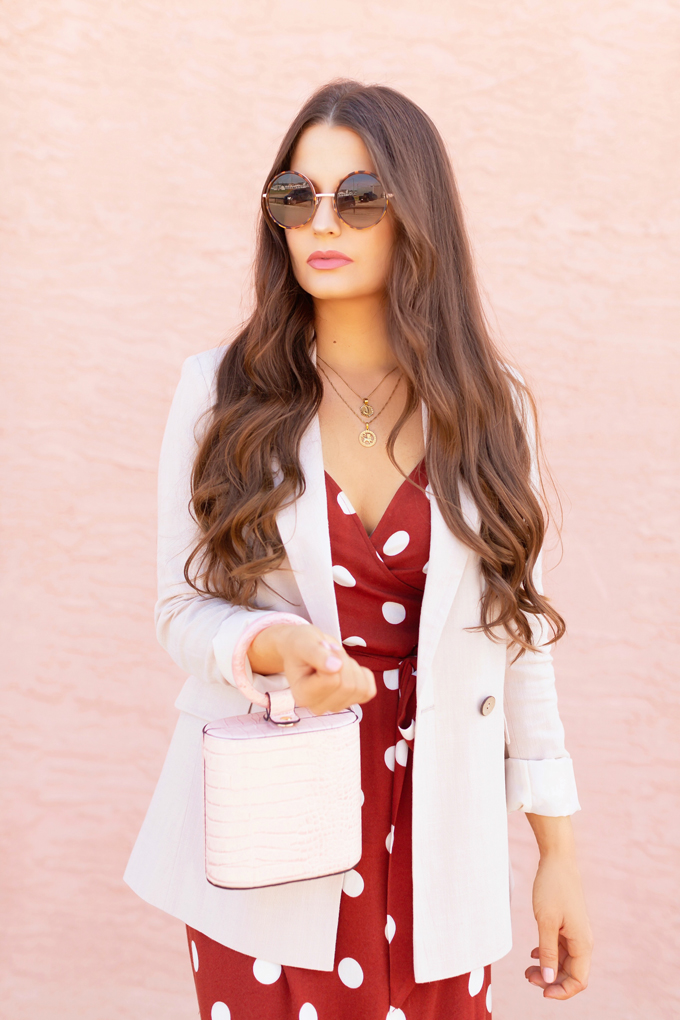 LATE SUMMER 2019 LOOKBOOK | Spot On: How to Style Polka Dots for the Office | How to Style Polka Dots into Fall | The Best Dresses for Work | Summer/Fall 2019 Professional Outfit Ideas | Brunette woman wearing a brown polka dot wrap dress, TopShop Oatmeal linen blazer, pink croc-embossed bracelet bag, and white, square toed scrappy sandals | Top Summer to Fall 2019 Transitional Trends | Calgary Fashion Blogger // JustineCelina.com